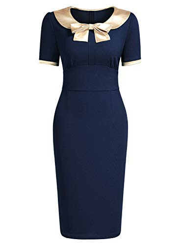 AISIZE Women's 1940s Style Vintage Golden Bow Contrast Color Wiggle Dress (1940s Bow)