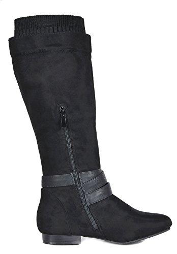 Damessandalen Flat-laarzen Voor Dames Black-b