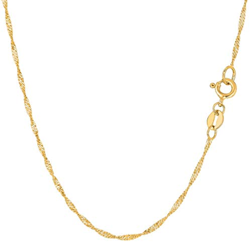 (14K Yellow or White Gold 1.5mm Shiny Diamond-Cut Classic Singapore Chain Necklace for Pendants and Charms with Spring-Ring Clasp (10