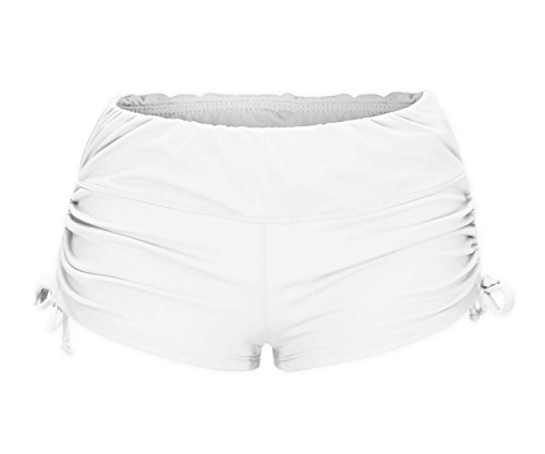 ReliBeauty Women's Adjustable Ties Boy Short Swim Bottoms, White, X-Large
