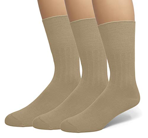 EMEM Apparel Men's Diabetic Circulatory Non-Binding Top Loose Top Casual Dress Crew Mid Calf Cotton Seamless Toe Hosiery Socks 3-Pack Khaki 10-13