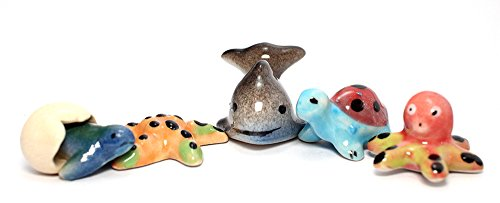 Aquatic Animals Ceramic Mini Animals Dollhouse Miniatures Figurine set 5 pcs. (Mini Pirate Skull Figurine)