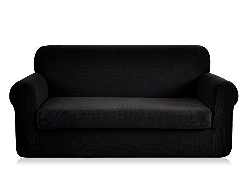 (CHUN YI Jacquard loveseat Covers 2-Piece Stretch Polyester Spandex Fabric Couch Slipcover, 2 Seater Sofa Protector (Loveseat, Black))