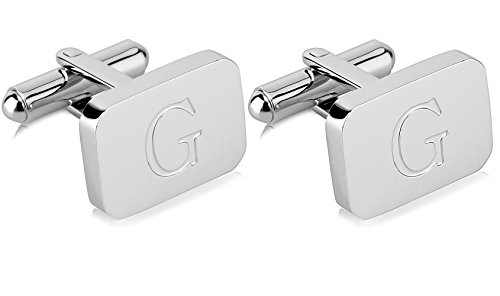 White Cufflinks Black Gold - 18K White-Gold Plated Initial Engraved Stainless Steel Man's Cufflinks With Gift Box -Personalized Alphabet Letter's By Lux & Pair (G- White Gold)