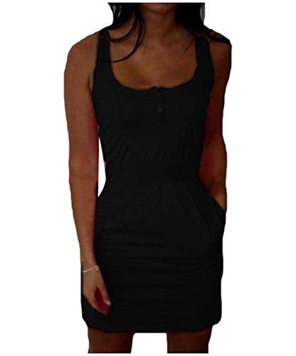 Coolred-femmes Tunique Forme Régulière Solide Robe Fourreau Couleur Crayon Noir Plage