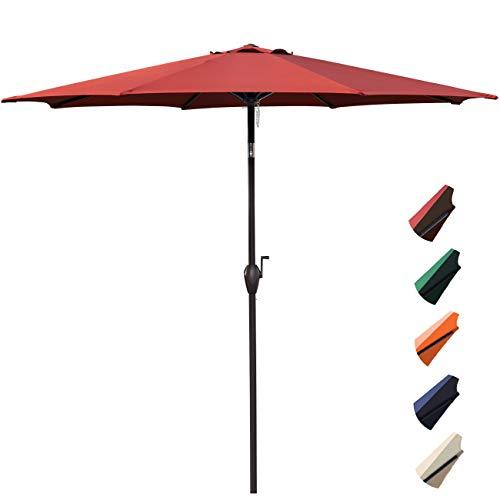 RUBEDER 9' Patio Umbrella Outdoor Market Table Umbrella with 8 Sturdy Ribs,Wing Vent,Push Button Tilt & Crank (9 Ft, Burgundy 2) (Umbrella Restaurant)