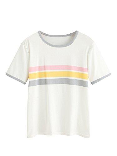 WDIRA Womens Short Sleeve Round Neck Contrast Striped Summer Tee Shirt Top