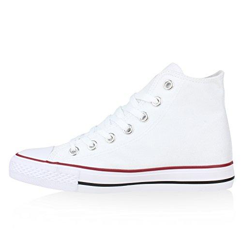 Herren Flandell Übergrößen Unisex high Sneaker Rot Damen Stiefelparadies Weiss qE1fY1
