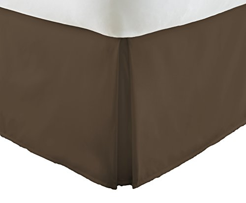 Becky Cameron Pleated Bed Skirt, Twin XL, (Bedskirt Solid Chocolate)