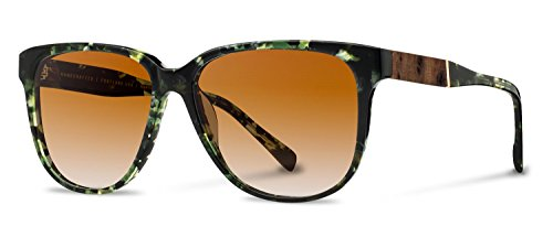 Shwood - McKenzie Acetate, Sustainability Meets Style, Dark Forest/Elm Burl, Brown Fade - Face Diamond Sunglasses Shape