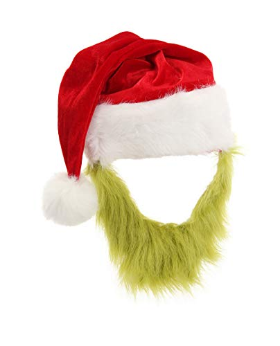 elope Grinch Plush Hat with Beard Green, One Size