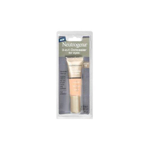 Neutrogena 3-in-1 Concealer for Eyes, SPF#20, Medium 15, 0.37 oz. (3-pack)
