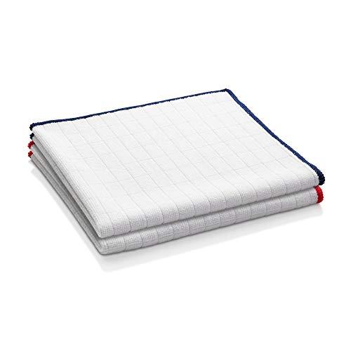 E-Cloth Wash & Wipe Microfiber Dish Cloth, 1 Blue Trim & 1 Red Trim, 2 Count