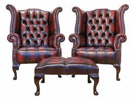 Designer Sofas4u Chesterfield Offer Buttoned Seat Pair Queen Anne High Back Wing Chair Footstool  sc 1 st  Amazon UK & Designer Sofas4u Chesterfield Offer Buttoned Seat Pair Queen Anne ...
