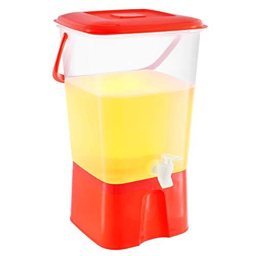 Plastic Beverage Dispenser with Stand & Spigot 2.11 Gallon (8L.) Cold Drink, Lemonade, Iced Tea, Juice Server Container for Parties, BPA Free, - Dispenser Beverage Red