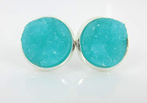 (Silver-tone Aqua Blue Faux Druzy Stone Stud Earrings)