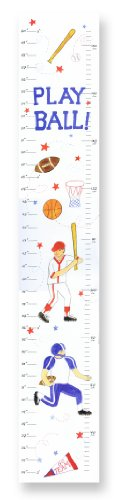 The Kids Room by Stupell Play Ball Multi-Sport Growth Chart, 7 x 0.5 x 39, Proudly Made in USA