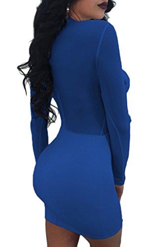 Partito Blansdi Maglia Clubwear Bodycon Pura Della Attraverso Piuma Abito Finto Blu Mini Sexy Collo Vedere Donne xZwnpRR