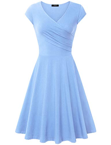 Lotusmile Elegant Dresses, Womens Casual Dress A Line Cap Sleeve V Neck Large, SkyBlue Blue Sky Cotton Cap