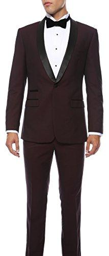 Ferrecci 42R Zonettie Mens Reno Burgundy Black 2pc Slim Fit Shawl Tuxedo Burgundy Tuxedo