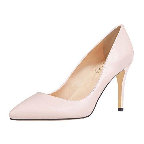 EKS Women's Mid-Heel Classic Slip On Dress Pumps High Heels Shoes Apricot-patent lJUbYFdtW