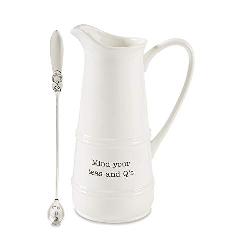 Mud Pie 45500014 Iced Tea Pitcher and Spoon Set, One size, White