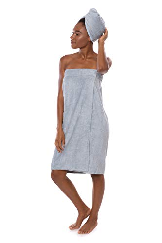 Women's Towel Wrap - Bamboo Viscose Spa Wrap Set by Texere (The Waterfall, Blue Fog, 2X/3X) Great Valentine Gift for Wife Mom WB0103-BFG-2X3X