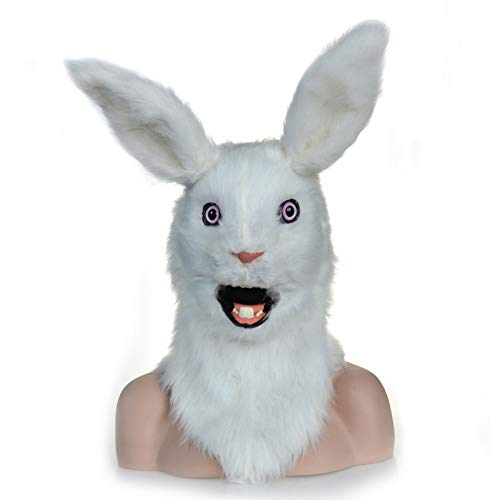 Dress Up Mask Animal Mask Handmade Halloween Moving Mouth Faux Fur Adult Costume Mask-Mouth Mover White Rabbit Mask Popular Animal Head Mask Game Mask (Color : White, Size : 2525) ()