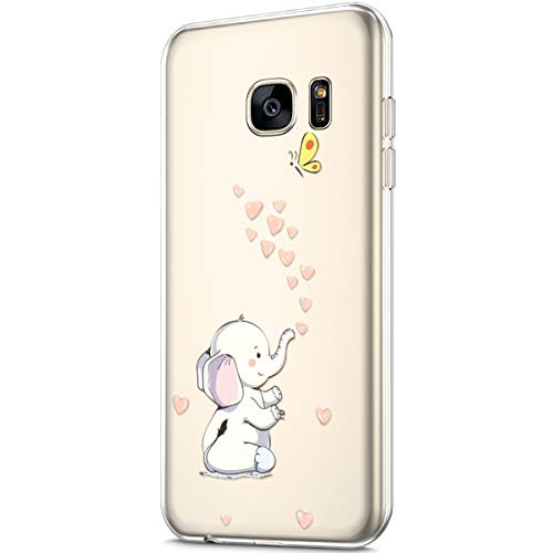 - ikasus Case for Galaxy S7,Clear Art Panited Pattern Design Soft & Flexible TPU Ultra-Thin Transparent Flexible Soft Rubber Gel TPU Protective Case Cover for Galaxy S7 Silicone Case,Love Heart Elephant