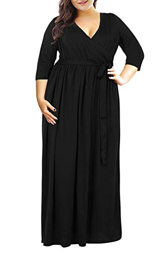 Nemidor Women's 3/4 Sleeve V Neckline Plus Size Casual Party Maxi Dress (Black, 24W)