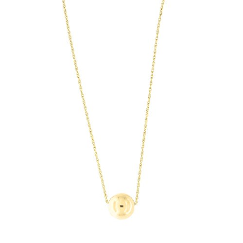 (14k Yellow Gold Rope Chain 8mm Polished Ball Bead Pendant Necklace, 18
