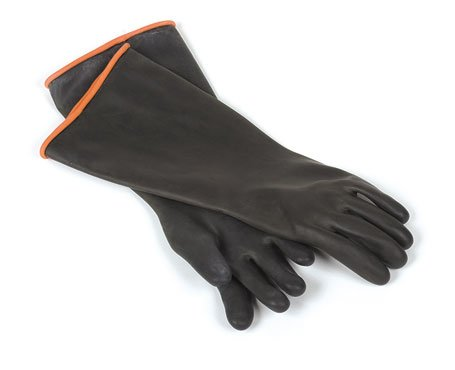 1 Pair Heavy Duty Hand Safety Black Rubber Gloves Elbow