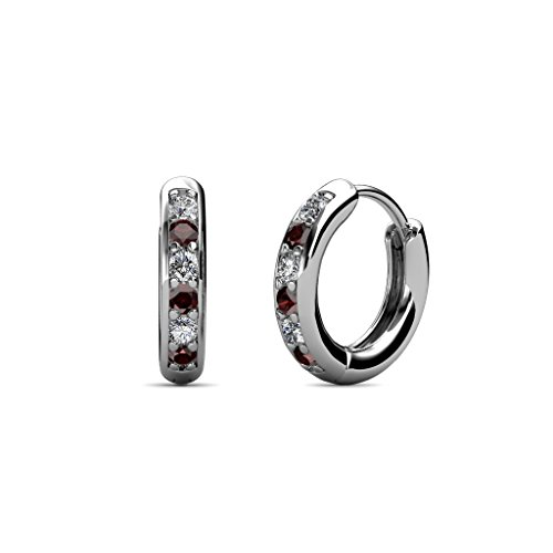 Petite Red Garnet and Diamond (SI2-I1, G-H) Huggies Hoop Earrings 0.25 Carat tw in 14K White (0.25 Ct Tw Hoop)