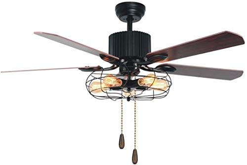 Tropicalfan Industrial Cage Ceiling Fan 5 Light Remote Control Indoor Living Room Bar Mute Vintage Fans Chandelier 5 Wood Composite Reversible Blades 52 inch