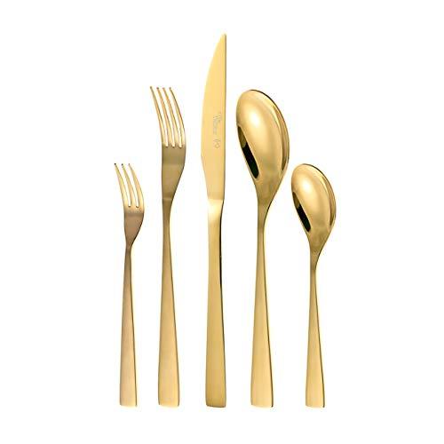 Otto Koning - Berlin - Set cubiertos de 30 piezas de acero inoxidable chapado en titanio dorado y pulido brillante , espesor 4 mm y cuchillo chuletero. Una cuberteria de mesa moderna para 6 comensales