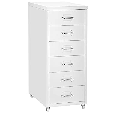 Halter 6DSC 6 Drawer Pedestal File Cabinet with Wheels - Cold Rolled Steel - 27.1  H X 11  W X 16.1  D - White