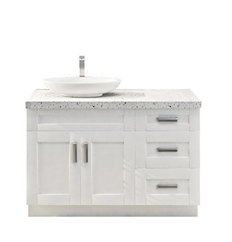 Shaker Style Real Wood Single Sink Base with One Drawer Base Bathroom Vanity (30+18, Pearl White) ()