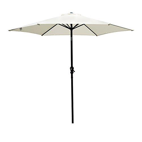 Outsunny 9FT Aluminum Market Patio Umbrella with Adjustable Tilt - Cream - White Umbrella Patio