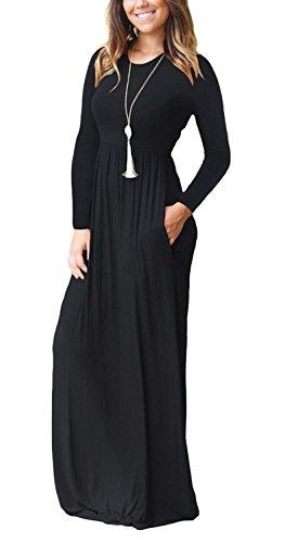 Vestido Largo Holgado Haomeili De Estilo Informal Con Manga Corta Y Bolsillos Color Liso Negro Small