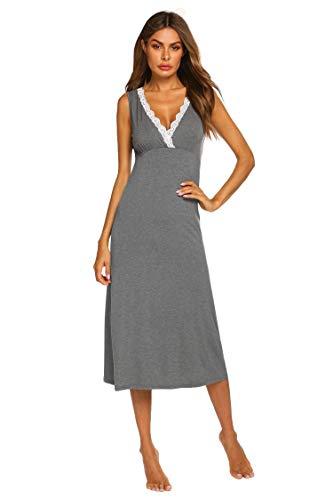 Ekouaer Women Soft Loose Loungewear Lace Sleepwear Sleeveless Sexy V Neck Maxi Nightgown Sleep Dress Gray