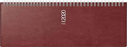 rido/idé 703613229 Tischkalender/Querterminbuch septant (2 Seiten = 1 Woche, 305 x 105 mm, Schaumfolien-Einband Catana, Kalendarium 2020, Wire-O-Bindung) bordeaux
