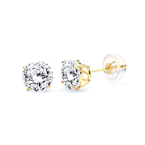 (14k Yellow Gold 6mm Round Solitaire Basket Set Stud Earrings with Silicone Back)
