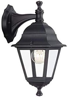 Philips Massive Lanterna da Esterno Lima, Alluminio e Vetro, Attacco E27, IP44, Nero, Lampadina Esclusa
