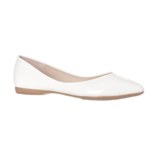 Pointed Shoe Riverberry Closed Patent Women's White On Toe Flat Ella Ballet Slip Basic qIfv4Iwx