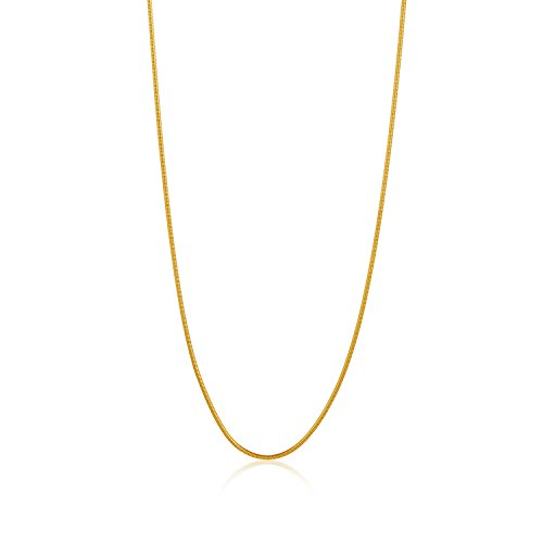 14k Gold Plated Snake Chain (The Bling Factory Narrow 1.9mm 14k Gold Plated Stainless Steel Snake Chain w/Lobster Clasp, 30 inches + Bonus Polishing Cloth)
