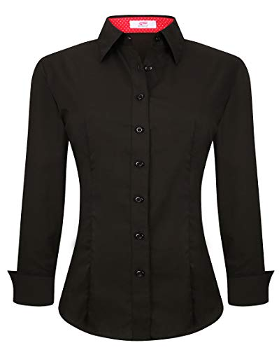 Esabel.C Womens Button Down Shirts Long Sleeve Regular Fit Cotton Stretch Work Blouse Black M ()