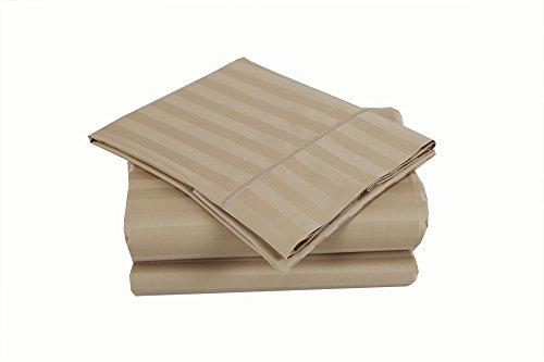 500 Thread Count 100% Cotton Damask Stripe Sheet Set (King Sheet Set, Wheat)