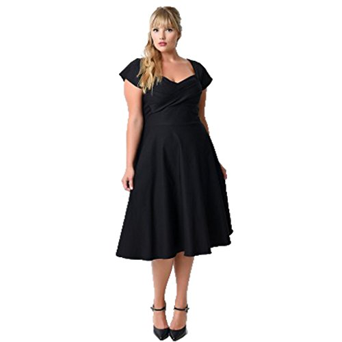 missnina women 39 s vintage 50 39 s classic dress swing pinup rockabilly plus size 3xl black plus. Black Bedroom Furniture Sets. Home Design Ideas