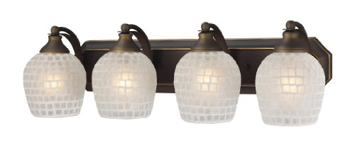 Elk 570-4B-WHT 4-Light Vanity in Aged Bronze and White Mosaic Glass