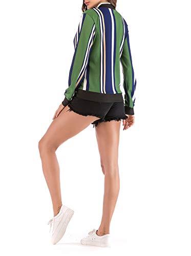 Tops Coat Moda Outerwear Onlyoustyle E Primavera Giacca Verde Lunga Autunno Blouse Casual Jacket Cappotto Donna Corto Giacche Bomber Baseball Stampa Manica qwq8S4Pa